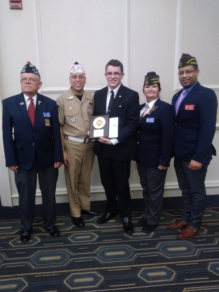 VFW Post 3236 Commander Paul Crzan, PSC Eric Segundo, VOD State Winner Matthew Tibbitts, PDC Christine Bassett and District 7 Commander Gam Rosa at the Department of Massachusetts VFW and Auxiliary State Awards Banquet on Sunday, January 27th 2019 in Leominster, MA.